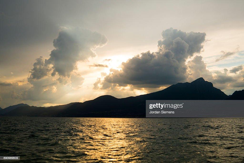 Sunset over lake Como : Stock Photo