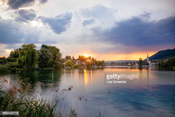 sunset over lake constance at stein am rhein - bodensee stock-fotos und bilder