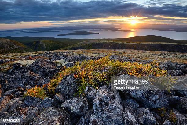 Sunset over Lake Imandra, Khibiny mountains, Kola Peninsula, Russia