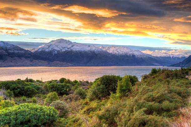 Sunset Over Lake Wanaka And The Southern Alps (HDR Wall Art