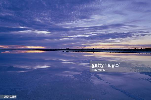 sunset over lake with water, lake eyre, south australia, australia