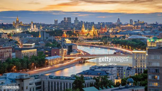 sunset over landmarks of the moscow kremlin - red square stock pictures, royalty-free photos & images