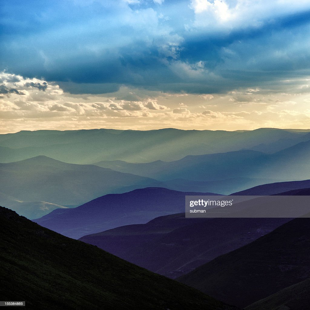 Sunset over Lesotho mountains : Stock Photo