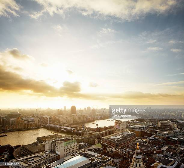 Sunset over London and The Thames.