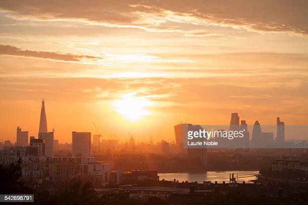 Sunset over London, England