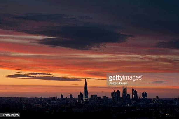 sunset over london - dulwich stock photos and pictures
