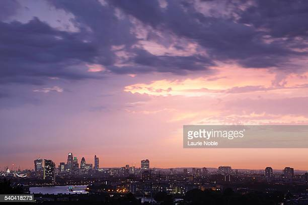 sunset over london - horizon stock pictures, royalty-free photos & images