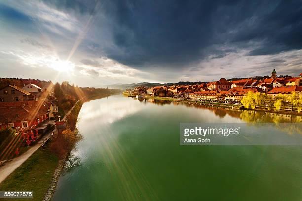 Sunset over Maribor and Drava River, Slovenia