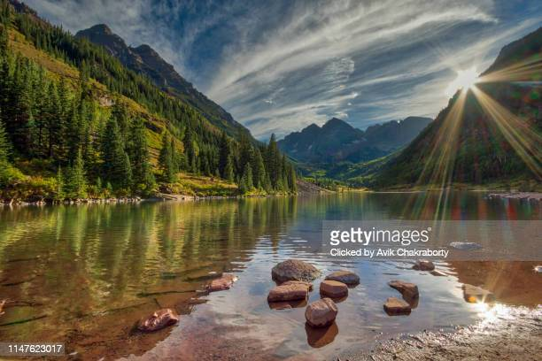 sunset over maroon bells colorado, usa - colorado stock pictures, royalty-free photos & images