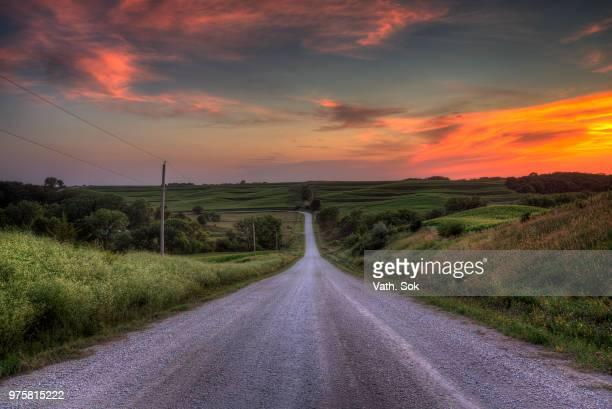 Sunset over meadows, Iowa, USA