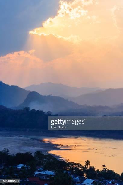 Sunset over Mekong River and hills around Luang Prabang