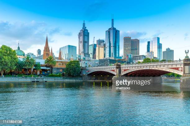 sunset over melbourne and yarra river - australia stock pictures, royalty-free photos & images