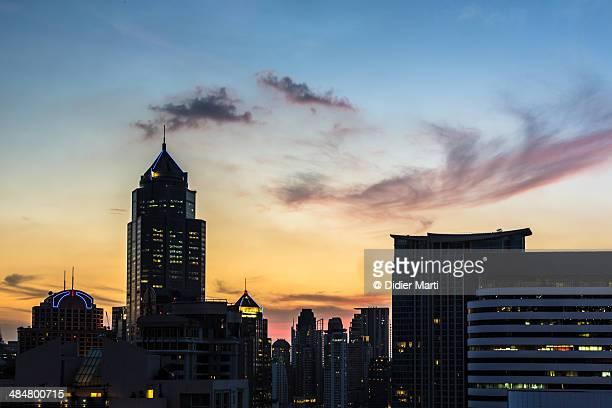 Sunset over modern Bangkok