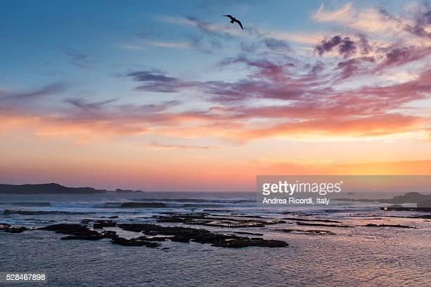 Sunset over Moroccan atlantic coast