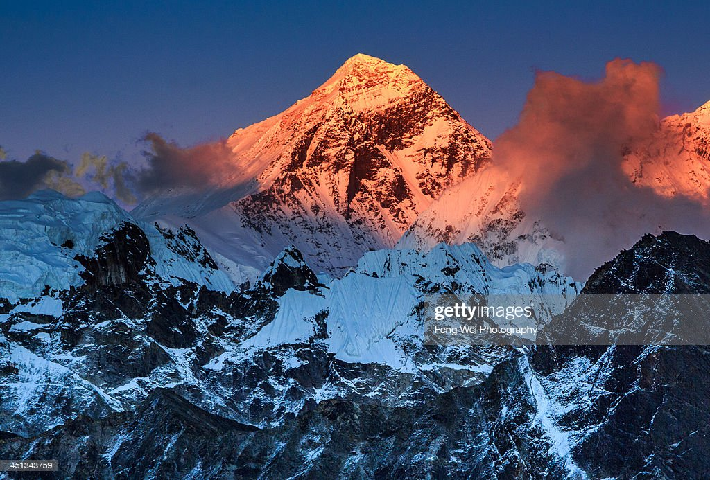 Sunset Over Mount Everest, Sagarmatha NP, Nepal : Stock Photo