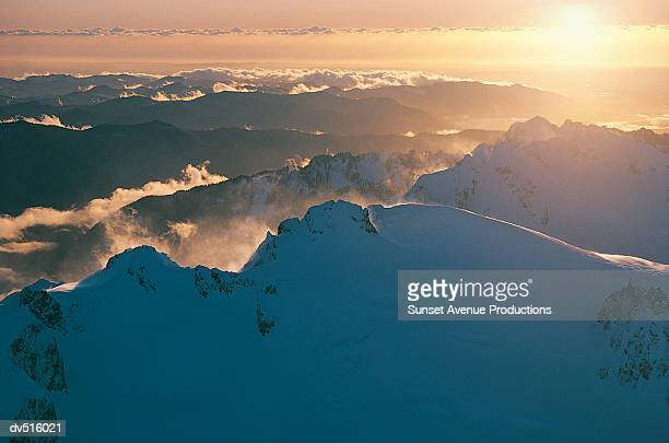 Sunset over Mount Olympus, Olympic Mountain Range, Western Washington, USA