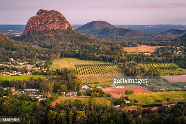 Sunset over Mount Tibrogargan in Glass House Mountains of Queensland
