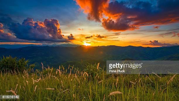 Sunset over mountain at Phou Khoun in Laos