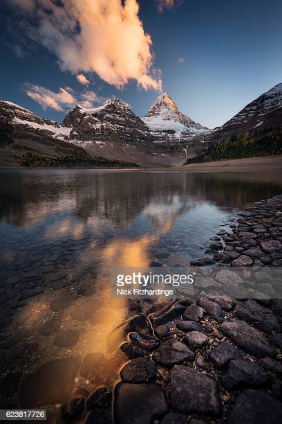Sunset over Mt Assiniboine from the shores of Lake Magog, Mt Assiniboine Provincial Park, British Columbia, Canada