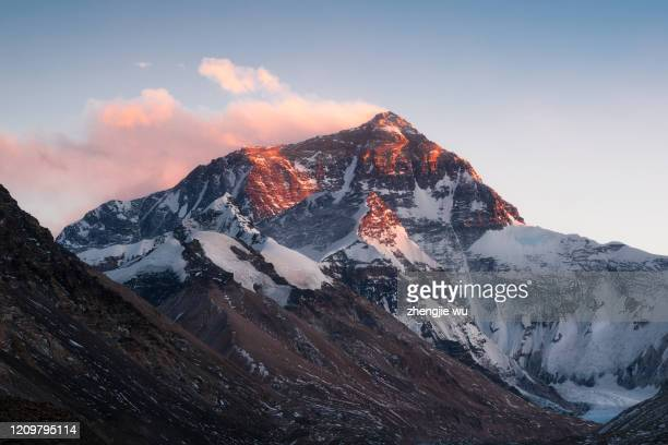 sunset over mt.everest from tibet,qomolangma - mt. everest stock pictures, royalty-free photos & images