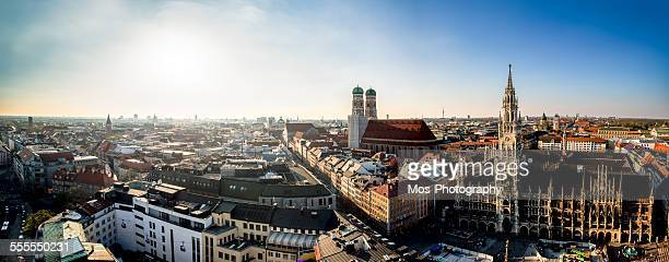 sunset over munich's skyline - panorama stock-fotos und bilder