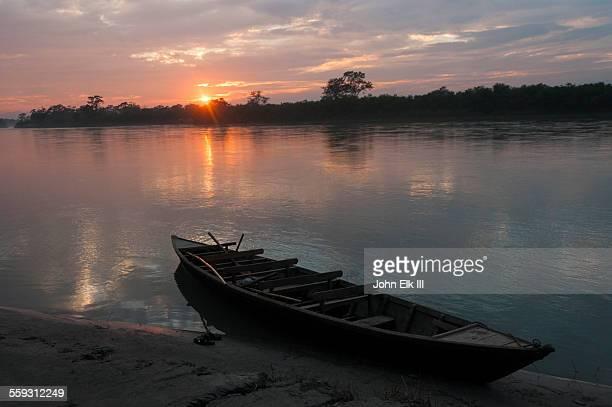 Sunset over Narayani River and jungle