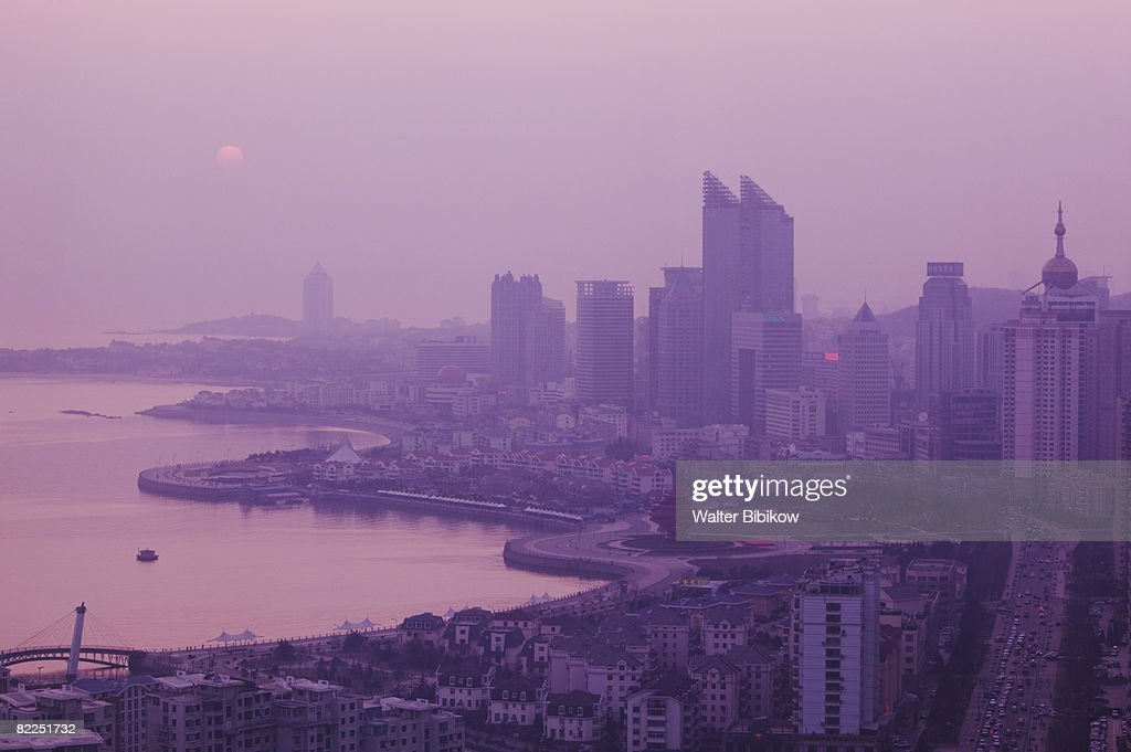 Sunset over New Town and Fushan Bay : Stock Photo