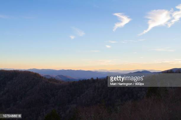 sunset over newfound gap - newfound gap stock pictures, royalty-free photos & images