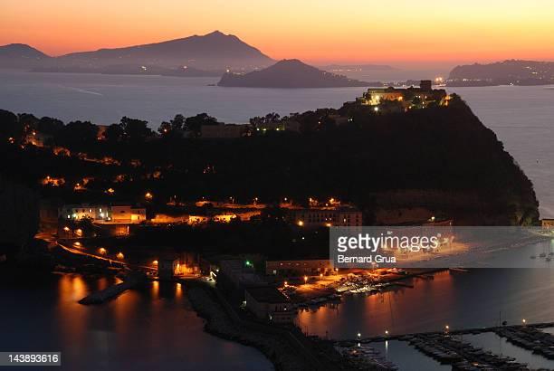 sunset over nisida island - bernard grua photos et images de collection