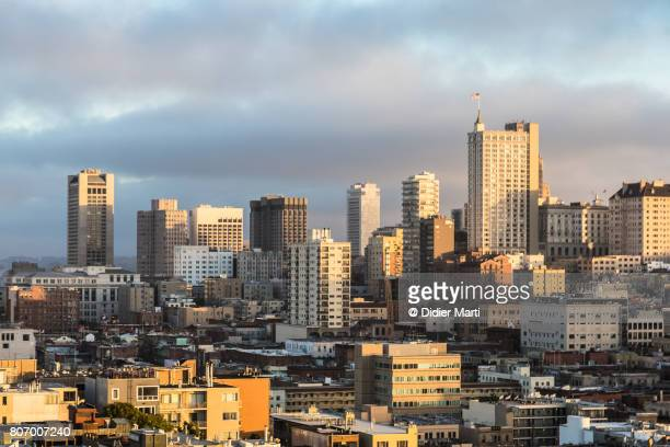Sunset over Nob Hill in San Francisco, California, USA