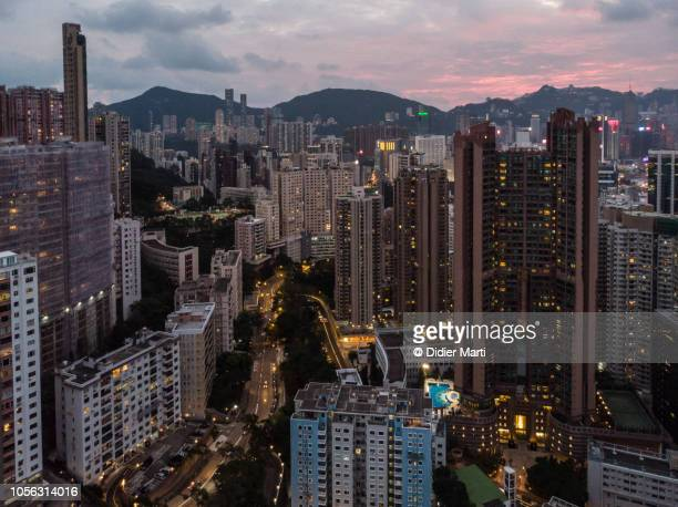 Sunset over North Point district in Hong Kong