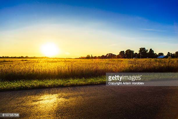 sunset over ohio - ohio stock photos and pictures