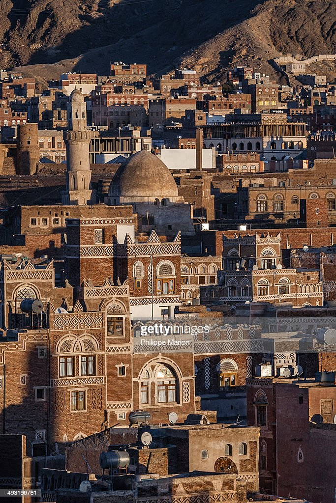 Sunset over old city of Sana'a in  Yemen : Stock Photo