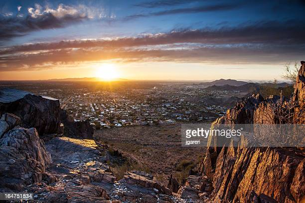 sunset over phoenix - phoenix arizona stock photos and pictures