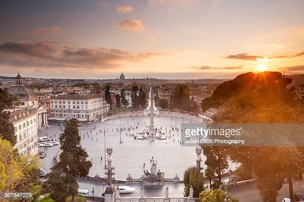 Sunset over Piazza del Popolo in Rome