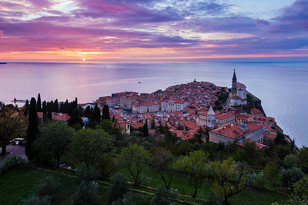 Sunset over Piran from the city walls