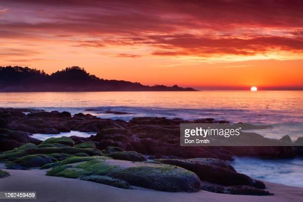 sunset over point lobos state reserve, california - don smith stockfoto's en -beelden