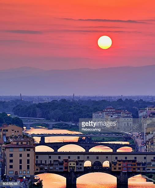 Sunset over Ponte Vecchio, Florence, Italy
