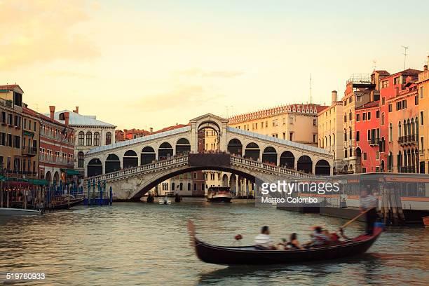 Sunset over Rialto bridge, Venice, Italy