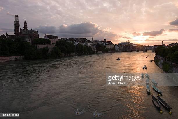 Sunset over river Rhine