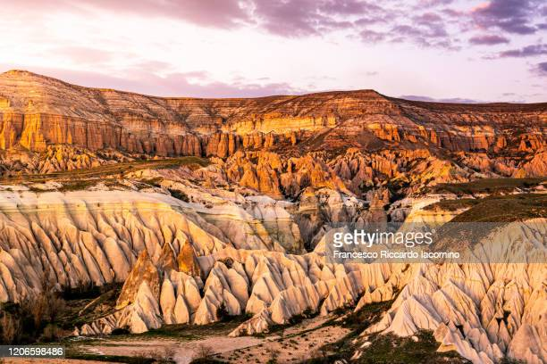 sunset over rose and red valley, cappadocia, turkey - anatolia stock pictures, royalty-free photos & images