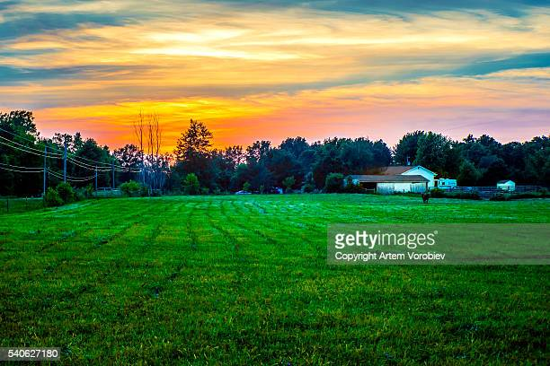 sunset over rural ohio in the summer - ohio stock pictures, royalty-free photos & images