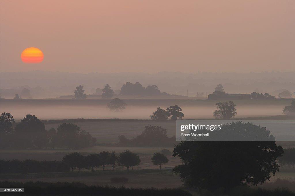 Sunset over rural scene, Shropshire, England, UK : Stock Photo