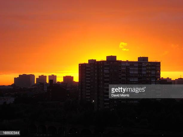 CONTENT] Sunset over Salford tower blocks Greater Manchester