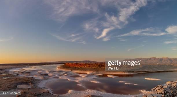 sunset over salt lake - san jose california stock pictures, royalty-free photos & images