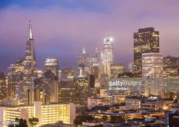 Sunset over San Francisco financial district in California