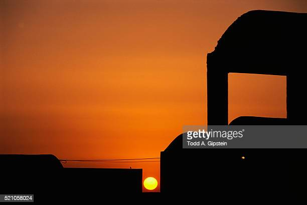 sunset over santorini church - gipstein stock pictures, royalty-free photos & images