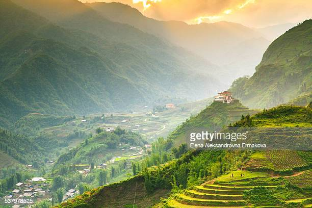 sunset over sapa, northern vietnam - sapa stock pictures, royalty-free photos & images