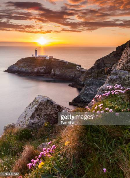 Sunset over sea and lighthouse, Anglesey, Wales