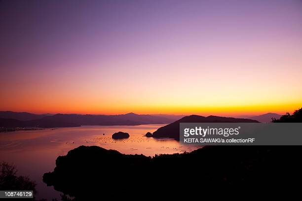 sunset over sea - fukui prefecture - fotografias e filmes do acervo
